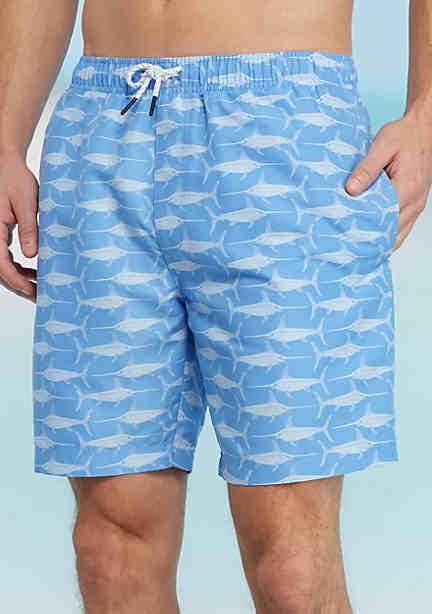 Mens Fashion Navy patterned swim shorts Sale No 6320