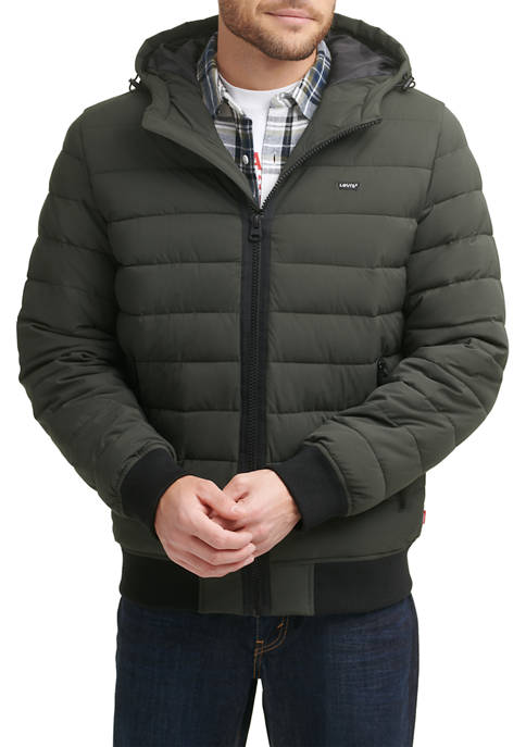 Levi's® Mens Stretch Polyester Quilted Puffer Hoodie Jacket