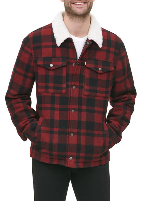 Mens Wool Blend Trucker Jacket with Sherpa Lining