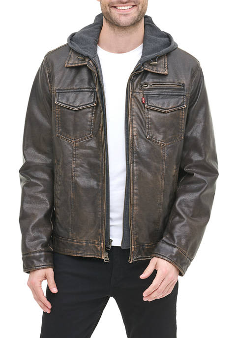 Mens Faux Leather Sherpa Lined Trucker Jacket With Jersey Hood
