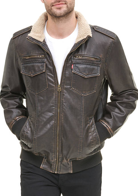 Faux Leather Stand Collar Aviator Bomber Jacket with Sherpa Lining