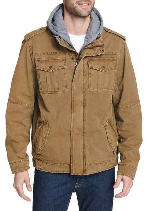 Big & Tall Cotton Military Trucker Jacket with Sherpa Lining and Zip Out Jersey Hood and Bib