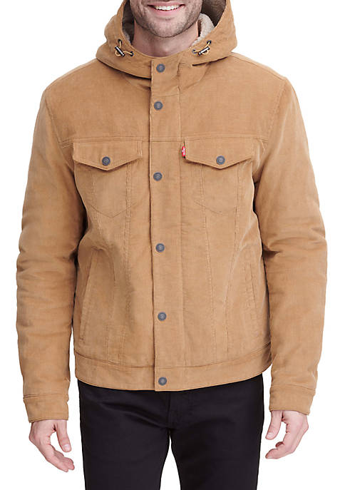 Levi's® Corduroy Hooded Trucker Jacket With Sherpa Lining