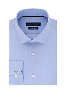 Slim Stretch Fine Line Stripe Spread Dress Shirt