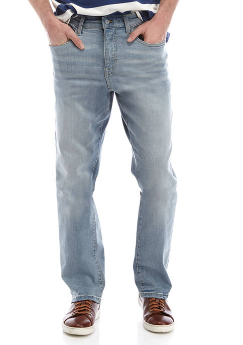 IZOD Mens Dusty Blue Comfort Relaxed Jeans