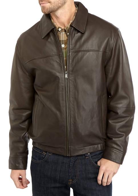 Boston Harbour Mens Leather Bomber Jacket