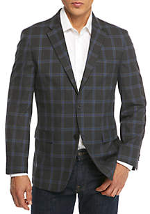 Stretch Charcoal Bright Blue Plaid Sportcoat