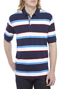Big & Tall Short Sleeve Striped Stretch Mesh Polo Shirt