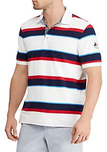 Striped Stretch Mesh Polo Shirt