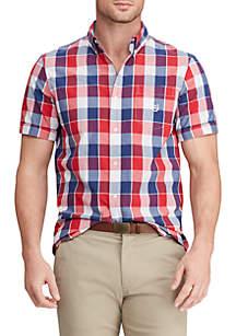 Chaps Big & Tall Plaid Short Sleeve Button Down Shirt