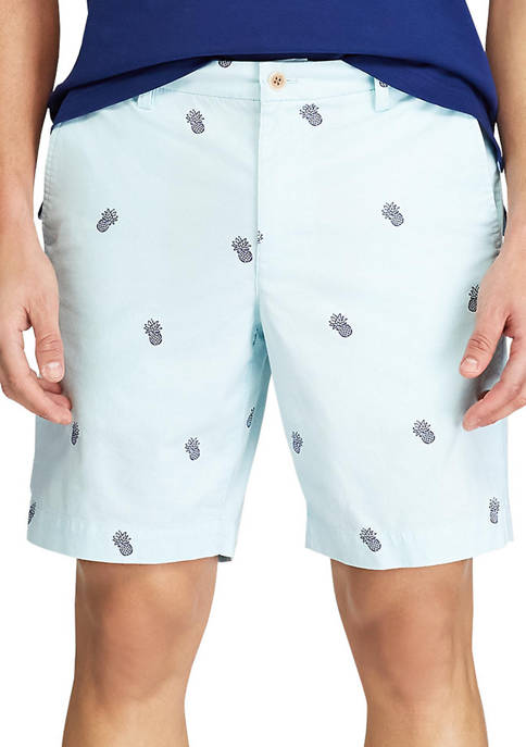 Chaps Printed Stretch Twill Flat Front Shorts