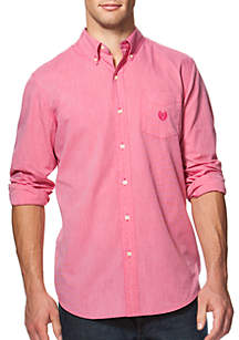 Air Long Sleeve Woven Solid Button Down Shirt - English Rose