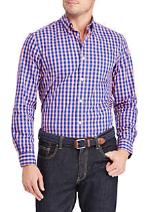 Long Sleeve Stretch Gingham Shirt