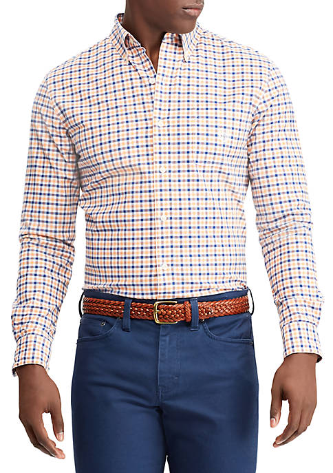 Chaps stretch cotton oxford long sleeve button down shirt for Oxford long sleeve button down shirt