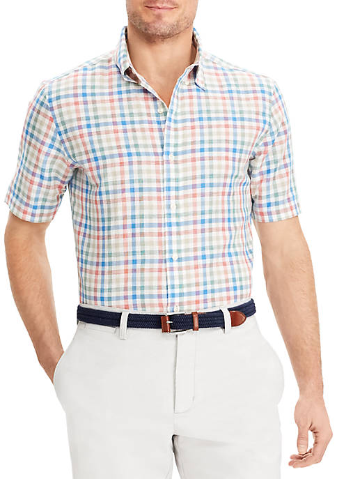 Chaps Checked Linen-Cotton Shirt