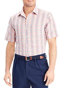 Plaid Linen-Cotton Shirt