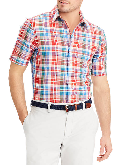 Chaps Plaid Linen-Cotton Shirt