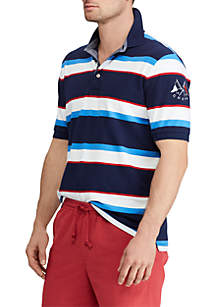 Striped Stretch Mesh Polo Shirt