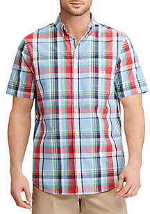 Short Sleeve Easy Care Plaid Button-Down Shirt