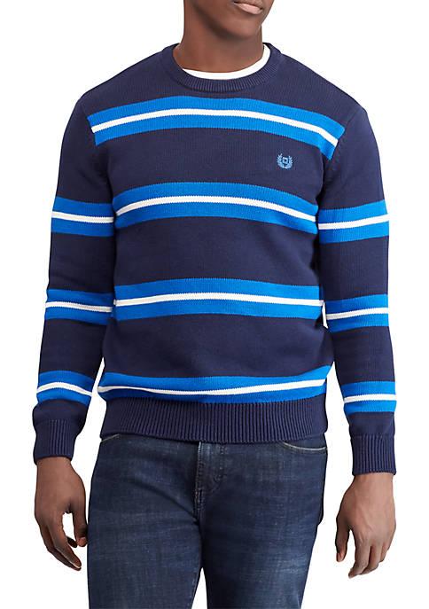Chaps Striped Cotton Crew Neck Sweater