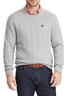 Herringbone Cotton Crew Neck Sweater