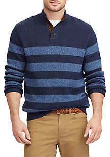 Elbow-Patch Mock Neck Sweater