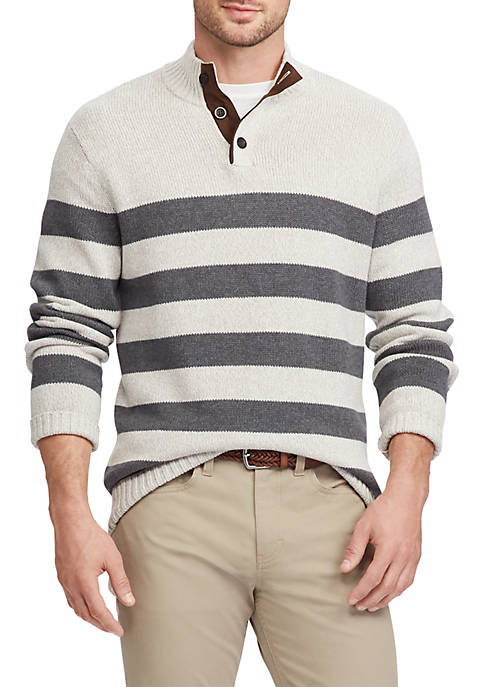 Chaps Elbow-Patch Mock Neck Sweater