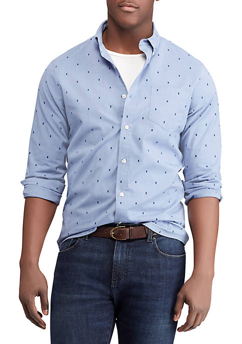 Chaps Print Cotton-Blend Long-Sleeve Shirt