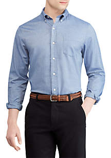 Print Cotton-Blend Long-Sleeve Shirt