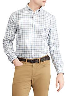 Stretch Cotton-Blend Long-Sleeve Shirt