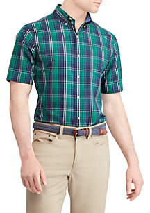 Plaid Short Sleeve Easy Care Sport Shirt