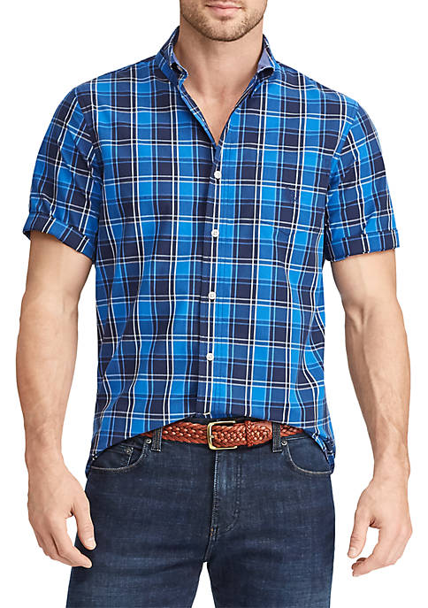 Chaps Plaid Short Sleeve Easy Care Sport Shirt