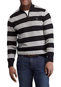 Striped Cotton Mockneck Sweater