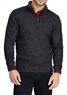 Cotton-Blend Mock Neck Sweater