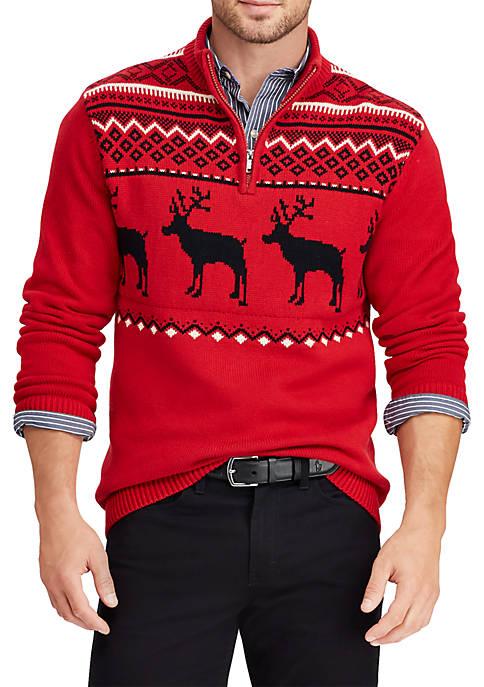 Chaps Intarsia-Knit Mockneck Sweater