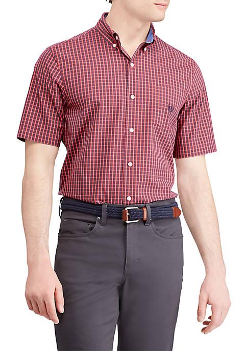 Chaps Plaid Short Sleeve Easy Care Sport Shirt
