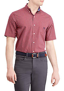 Plaid Short Sleeve Easy Care Sport Shirt