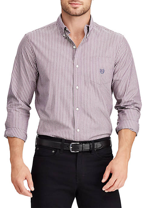 Chaps Long Sleeve Stripe Stretch Button Down Shirt