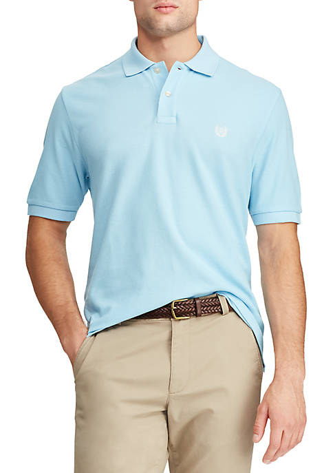 Chaps Short Sleeve Pool Blue Pique Polo