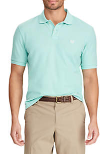Chaps Short Sleeve Mint Sky Pique Polo