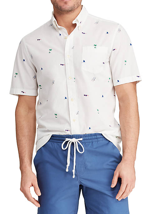 Chaps Printed Cotton Blend Short Sleeve Shirt