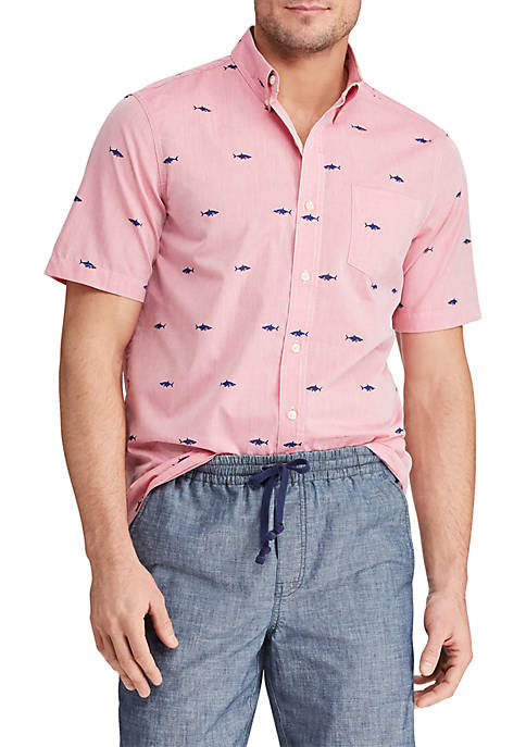 Printed Cotton Blend Short Sleeve Shirt