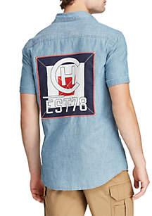 Chaps Indigo Chambray Short Sleeve Shirt