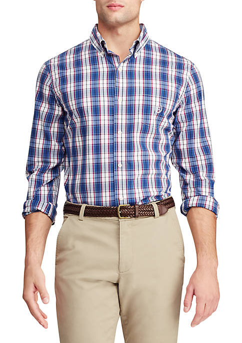 Long Sleeve Stretch Easy Care Button Down Shirt