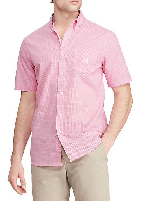 Short Sleeve Easy Care Pink Mini Check Shirt
