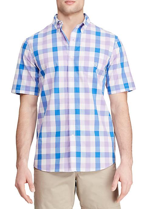 Chaps Short Sleeve Easy Care Lavender Plaid Shirt