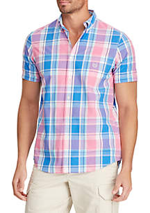 Chaps Short Sleeve Easy Care Big Pink Plaid Shirt