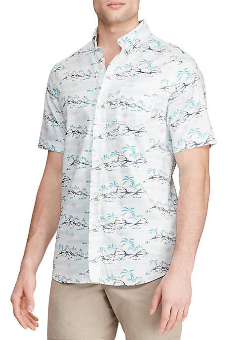 Short Sleeve Hawaiian Print Shirt