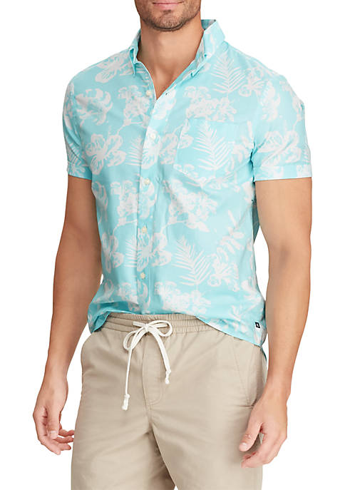 Chaps Printed Cotton-Blend Short Sleeve