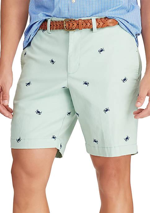 Flat Front Green Crab Schiffli Shorts